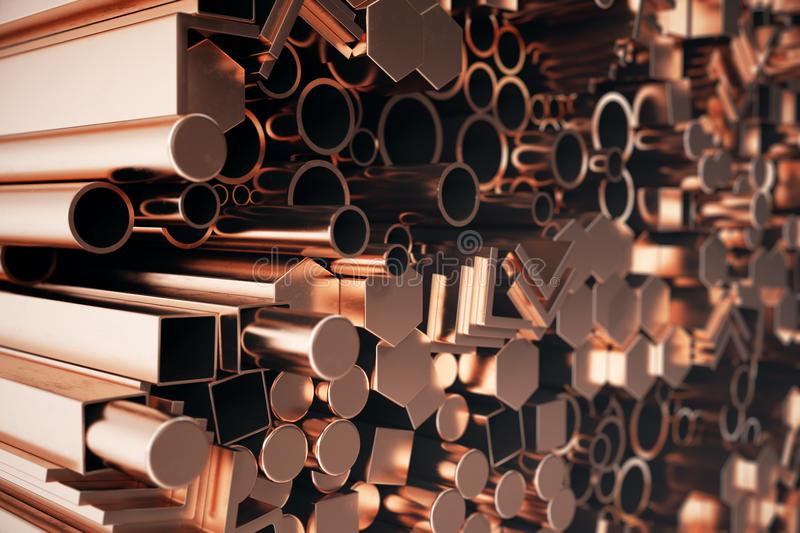 Cylindrical copper steel profiles, hexagonal copper steel profiles, square copper steel profiles. Different copper steel. Products. 3D illustration royalty free illustration