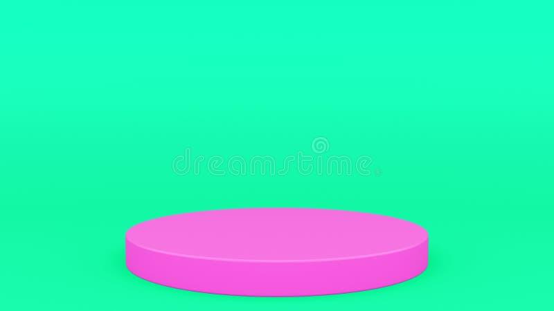 Cylindrisk podiumgräsplan och rosa platsen minsta 3d som framför upp modern minimalistic åtlöje, den tomma mallen som är tom stäl royaltyfri illustrationer