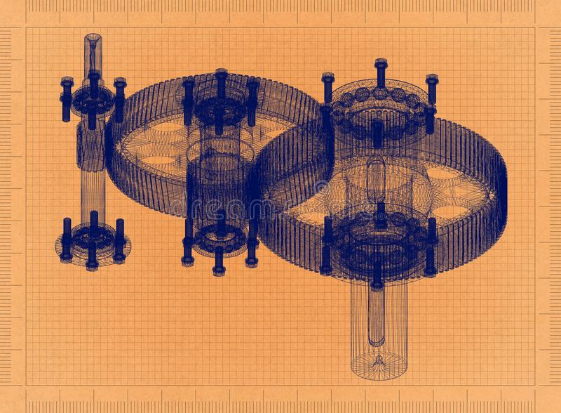 Cylindrisk Reducer - Retro ritning royaltyfri illustrationer