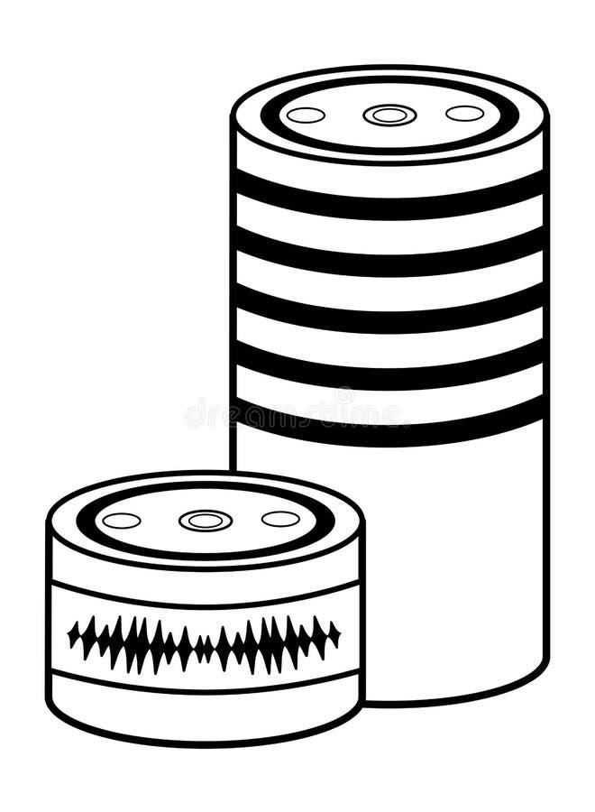 Cylindrisk svartvit högtalaresymbol vektor illustrationer