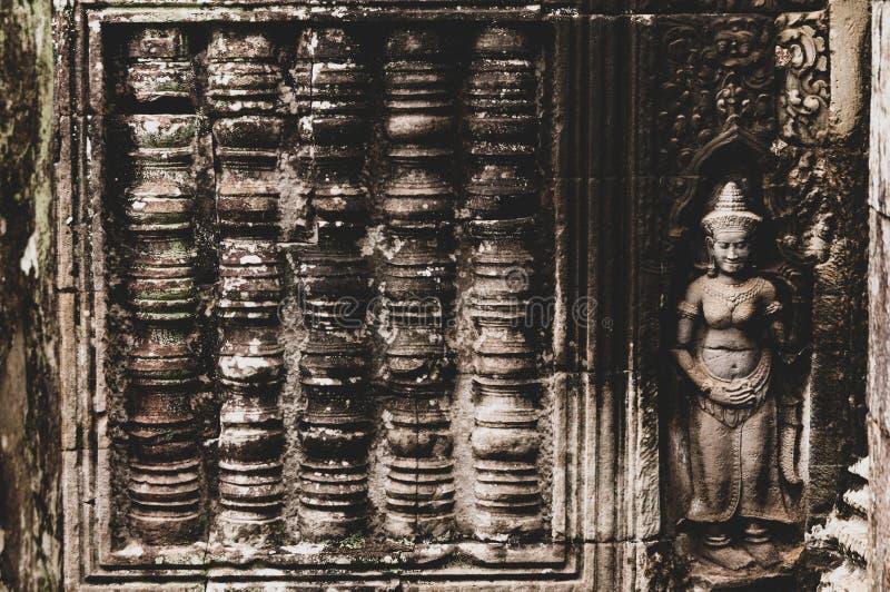 Cylindryczny & statua Basu ulgi szczegół w Angkor Wat, Siem Przeprowadza żniwa, Kambodża, Indochina, Azja zdjęcia royalty free