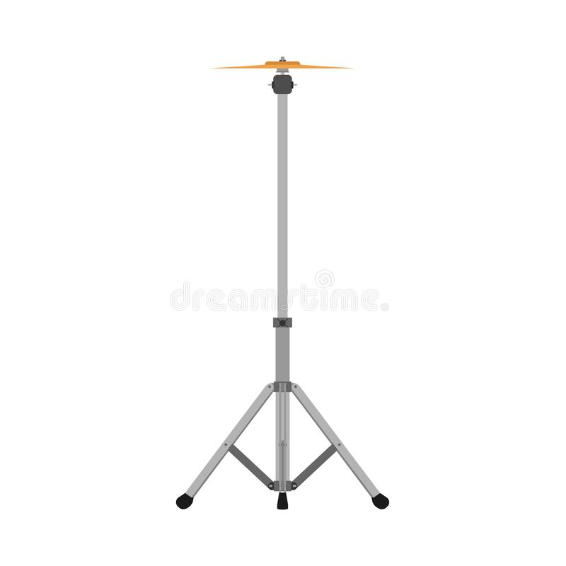 Cymbal stand musical sound flat icon drum band kit vector icon. Instrument rock bass live acoustic audio royalty free illustration