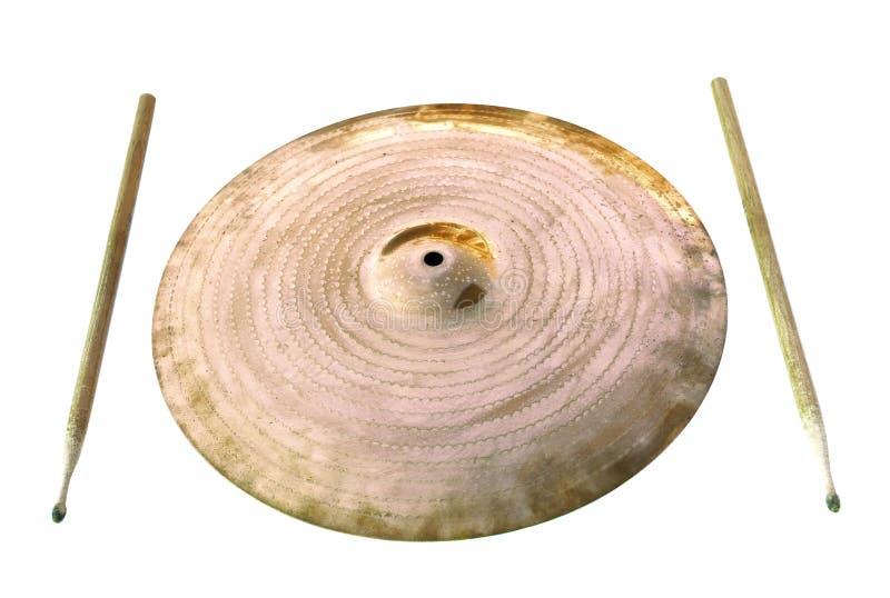 cymbaldrumsticks arkivbild