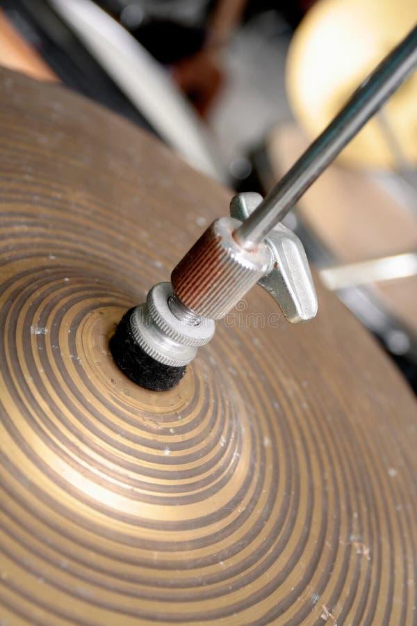 Cymbales d'un positionnement de tambour photo libre de droits