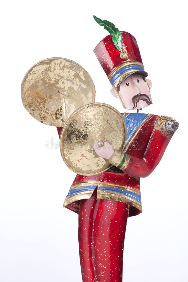cymbals isolerad leka soldattoy royaltyfri bild
