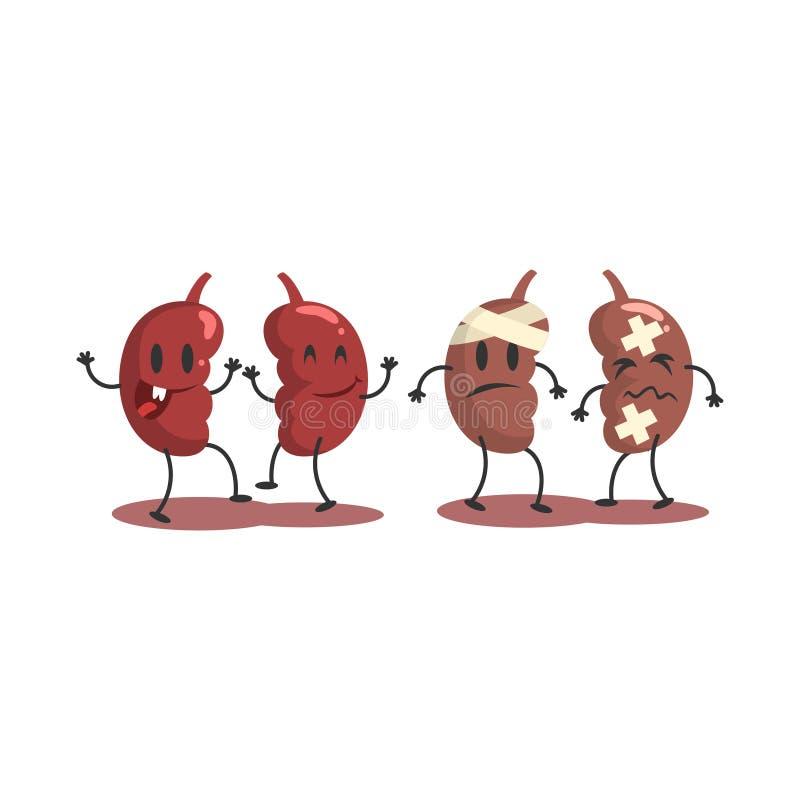 Cynaderki Ludzki Wewnętrzny organ Zdrowy Vs Niezdrowa, Medyczna Anatomic Śmieszna postać z kreskówki para W porównaniu Szczęśliwy royalty ilustracja