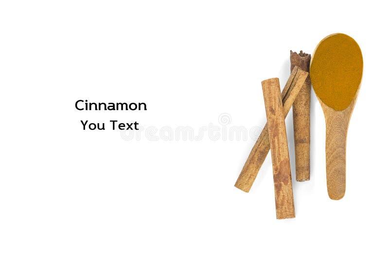 Cynamonowi kije i proszek cynamon w drewnianej łyżce odizolowywają fotografia royalty free