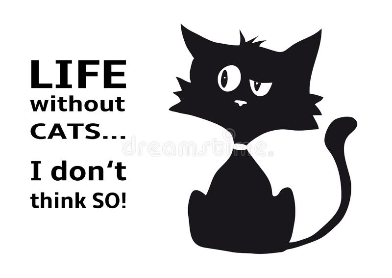 Cynical cat with quote Life without cats I dont think so, funny animal, isolated on white background royalty free stock photos
