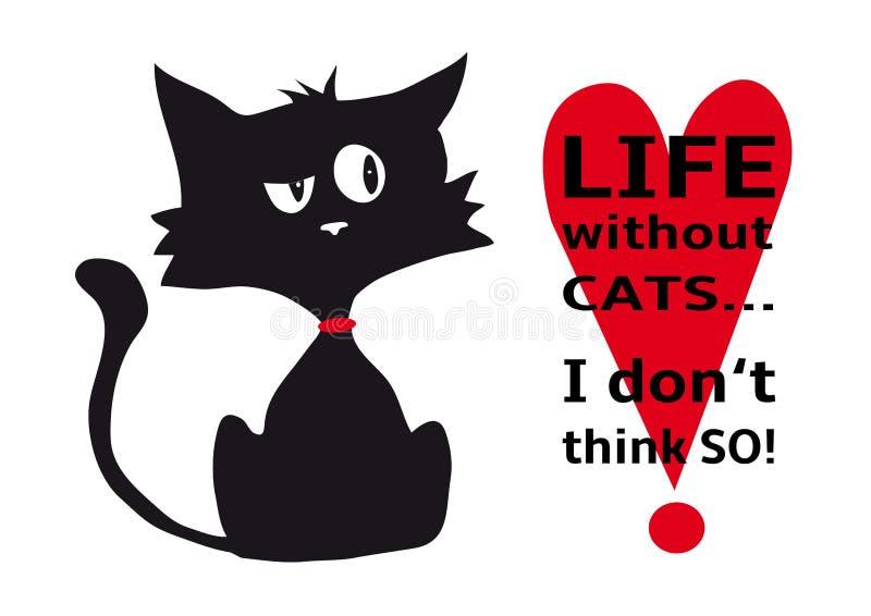Cynische kat met het citaatleven zonder katten die ik niet, grappig die dier zo denk, ge?soleerd op witte zwart-witte achtergrond stock afbeeldingen