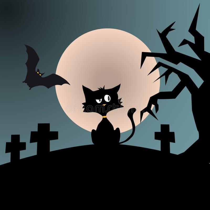 Cynische zwarte kat in een verschrikkingsscène stock illustratie