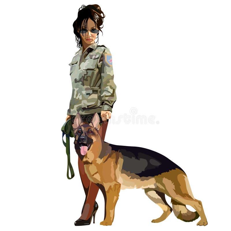 Cynologist de la mujer con el perro pastor del perro libre illustration