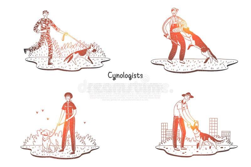 Cynologists - les chiens de marche et s'exerçants de personnes spéciales dirigent l'ensemble de concept illustration libre de droits