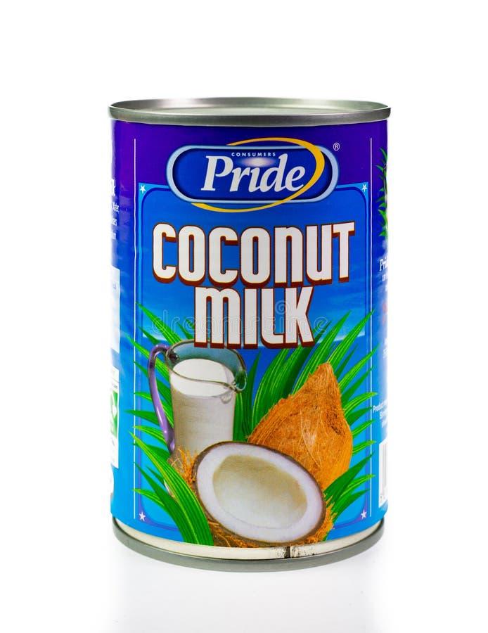 Cynowani konsumenci Szczycą się kokosowego mleko na białym tle zdjęcia royalty free