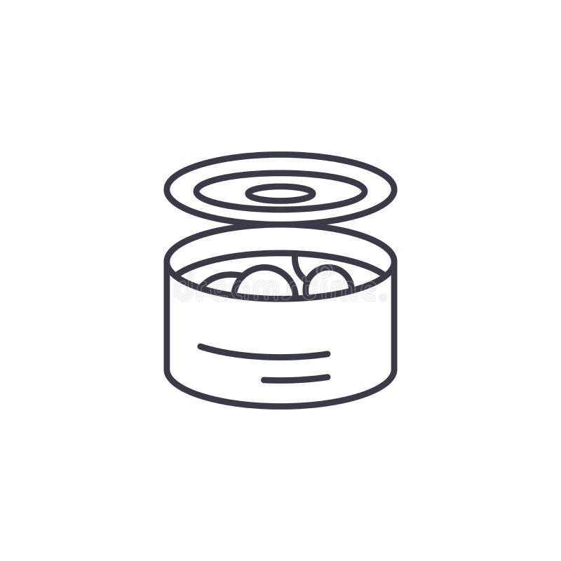 Cynowany karmowy liniowy ikony pojęcie Cynowany jedzenie linii wektoru znak, symbol, ilustracja royalty ilustracja