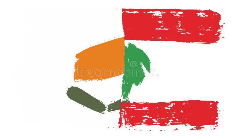 Cypern flagga & hand för Libanon flaggavektor som målas med den rundade borsten vektor illustrationer