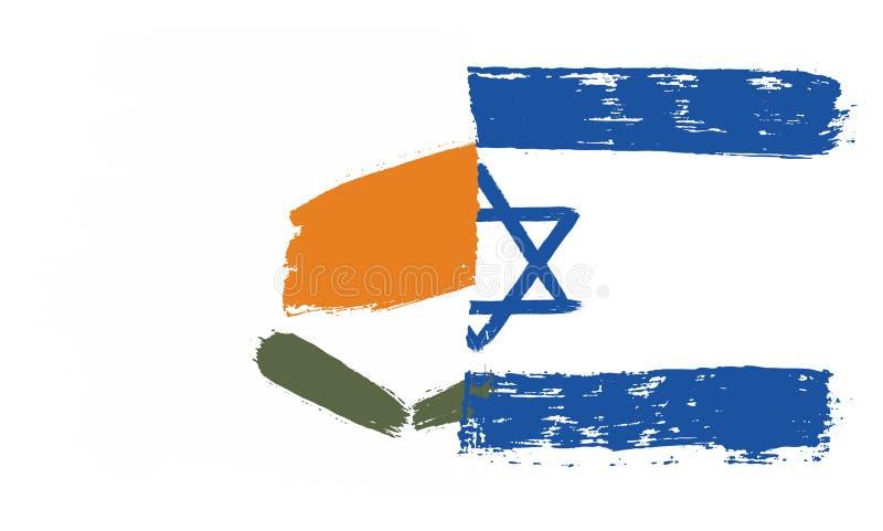 Cypern flagga & Israel Flag Vector Hand Painted med den rundade borsten royaltyfri illustrationer