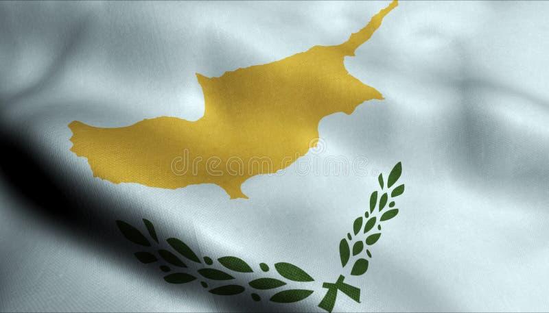 Cypern vinkande flagga i 3D vektor illustrationer