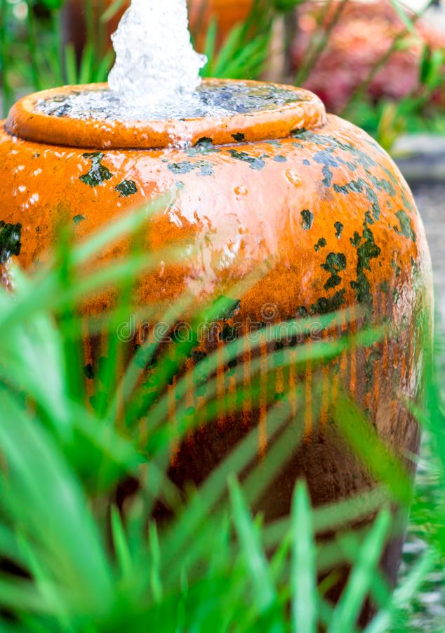 Cyperus Umbrella plant and small fountain in ceramic jar stock images