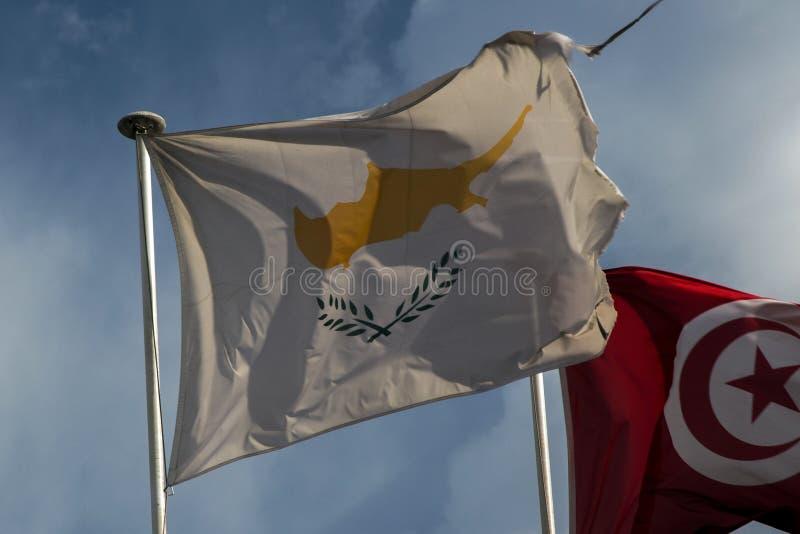 Cypr flaga fliying w wiatrze fotografia royalty free