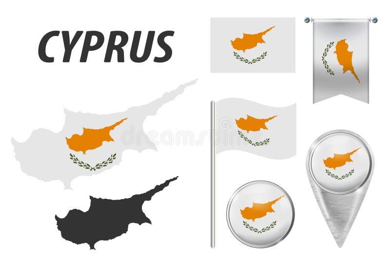 Cypr Flaga, pointer, guzik, falowanie i obwieszenie, zaznaczamy, wyszczeg?lniali?my kontur map? kraju w?rodku flagi, i Kolekcja royalty ilustracja