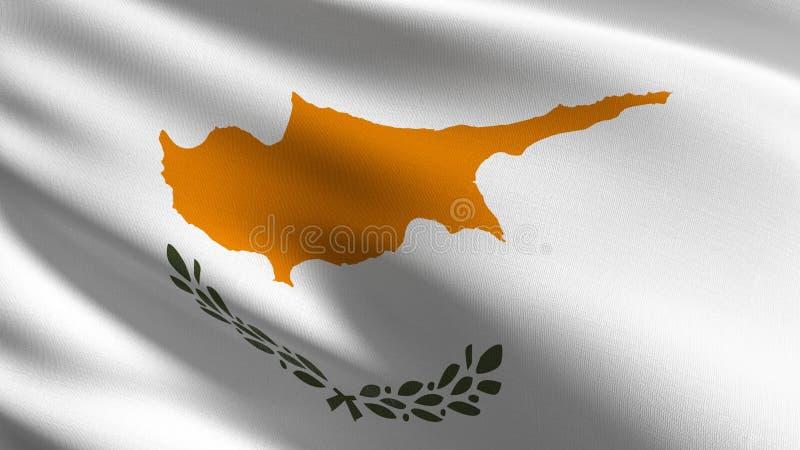 Cypr flagi państowowej dmuchanie w wiatrze odizolowywającym Oficjalny patriotyczny abstrakcjonistyczny projekt 3D renderingu ilus royalty ilustracja