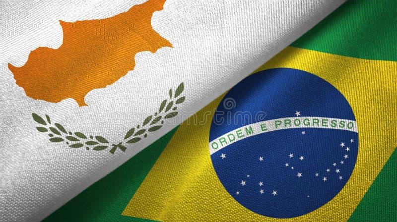 Cypr i Brazylia dwa flagi tekstylny płótno, tkaniny tekstura ilustracja wektor