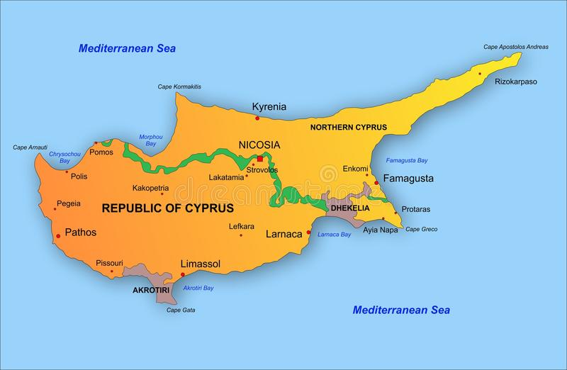 Cypr mapa royalty ilustracja