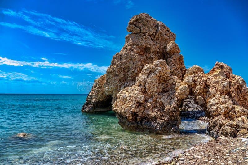 Cypr, Paphos, skała Romiou legendarny Aphrodite zdjęcie stock