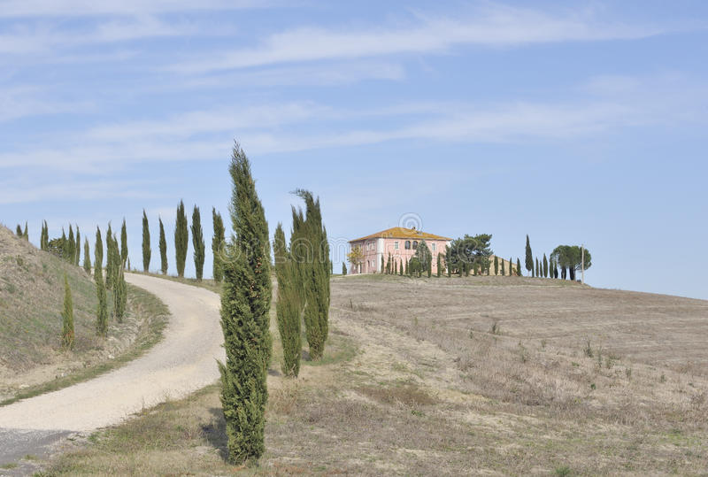 Cypress Trees And Hilltop Italian Villa Royalty Free Stock Photography