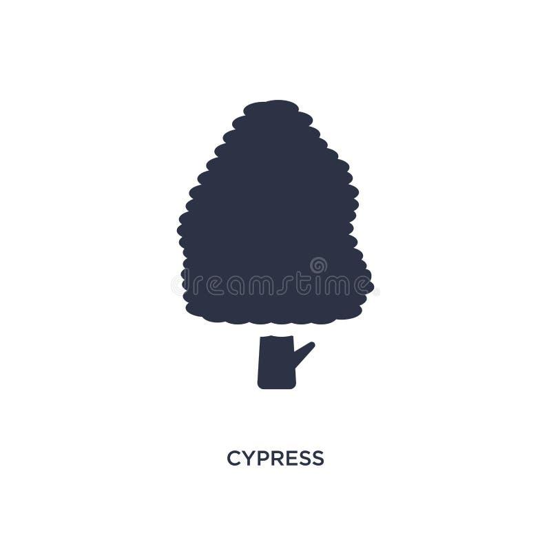 cypresssymbol på vit bakgrund Enkel beståndsdelillustration från naturbegrepp stock illustrationer