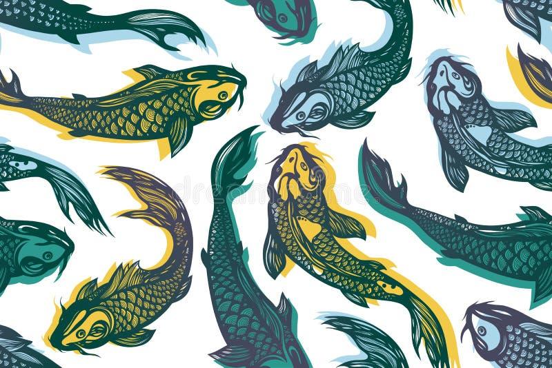 Cyprinus Carpio-haematopterus Nahtloses Muster mit Karpfenfischen teich Hintergrund in der chinesischen Art Hand gezeichnet vektor abbildung