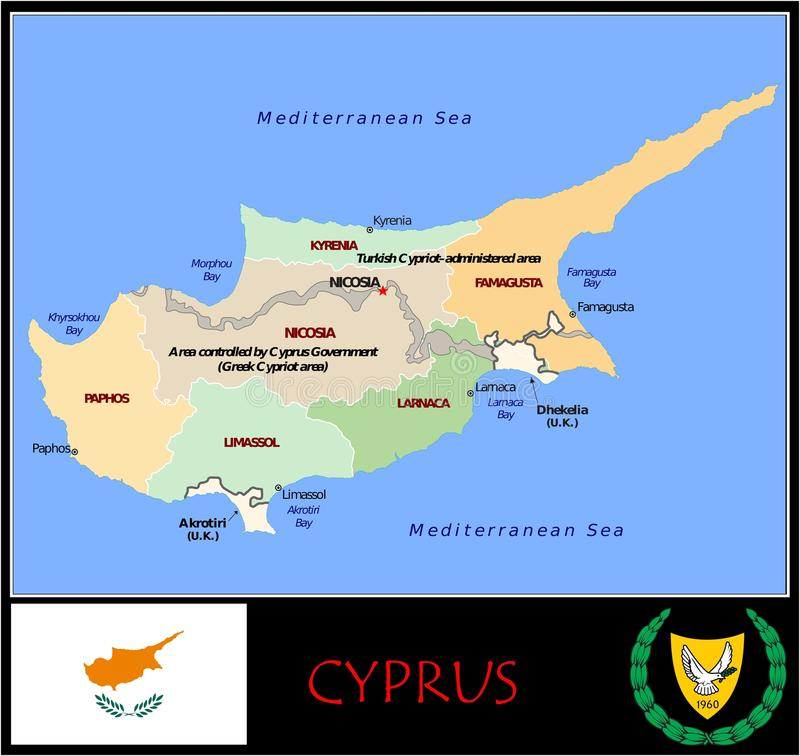 Cyprus Administrative Divisions Stock Illustration Illustration of