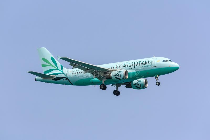 Cyprus Airways Airbus A319. Airbus A319 of Cyprus Airways approaching to land royalty free stock images