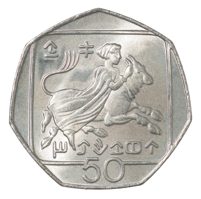 Cyprus cents coin. 50 Cyprus cents depicting Abduction of Europa royalty free stock image