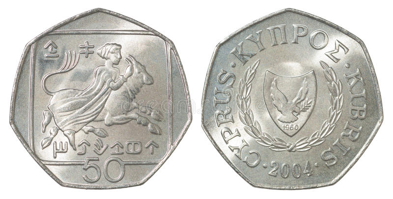 Cyprus cents coin. 50 Cyprus cents depicting Abduction of Europa and coat of arms royalty free stock images