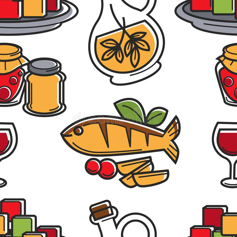 Cyprus cuisine seamless pattern seafood and olive oil royalty free illustration