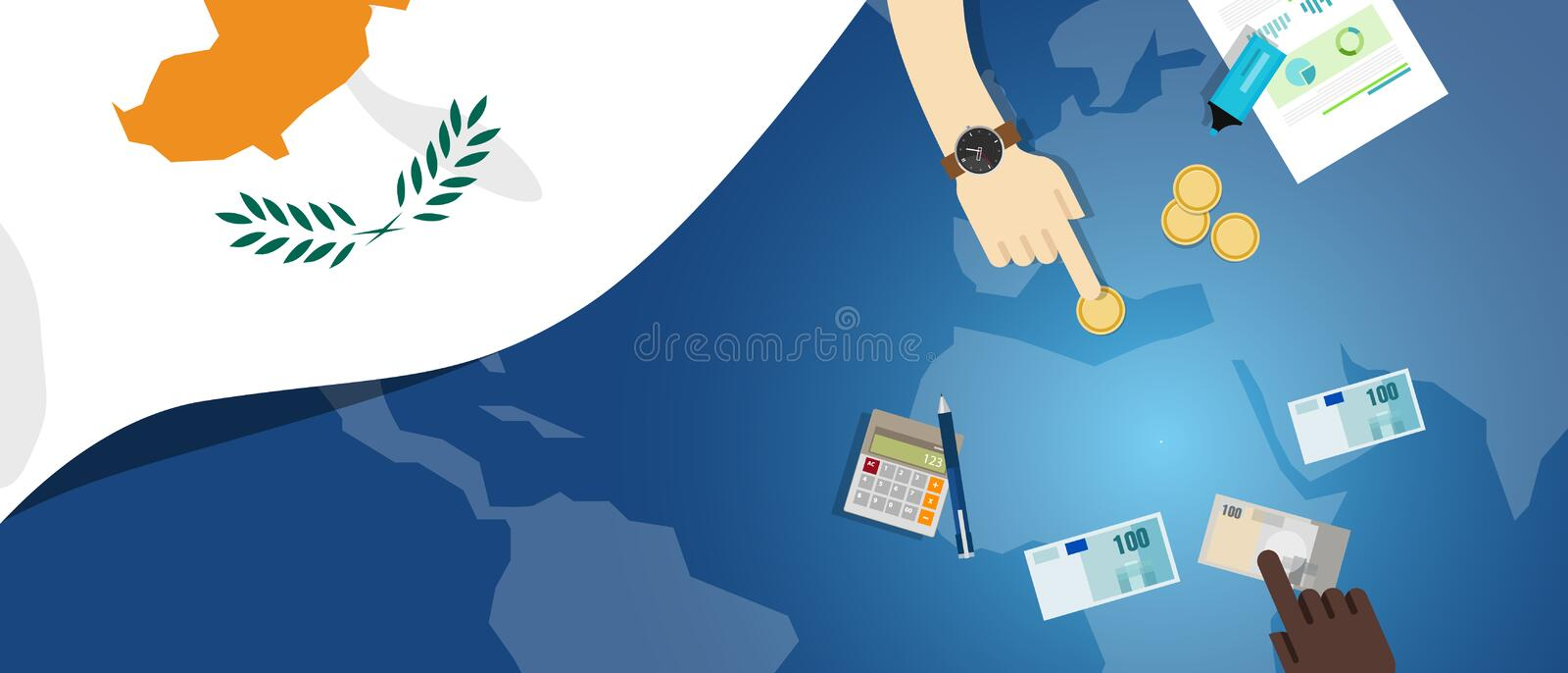 Cyprus economy fiscal money trade concept illustration of financial banking budget with flag map and currency. Vector vector illustration