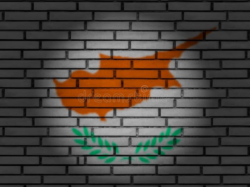 Cyprus flag brick wall stock image