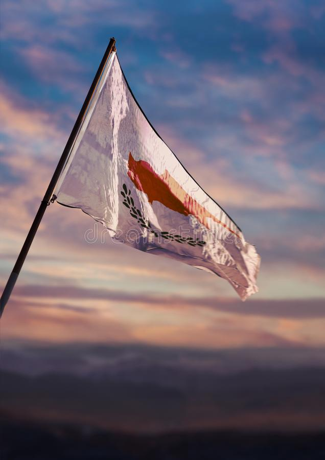 Cyprus flag, Cypriot flag waving on sky at dusk royalty free stock images