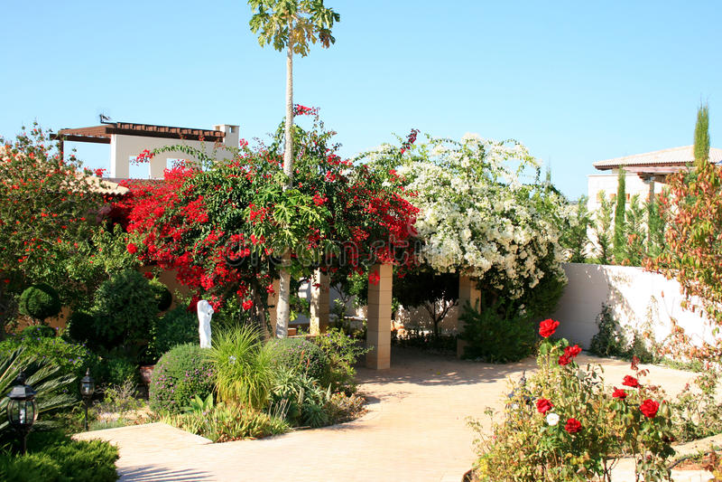 Cyprus house frontyard stock photos