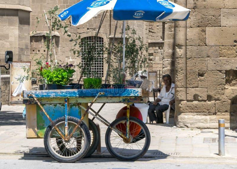CYPRUS - 10 juni, 2019: Een kleine bloemwinkel op wielen op een stadsstraat Bejaarde verkopende bloemen royalty-vrije stock foto
