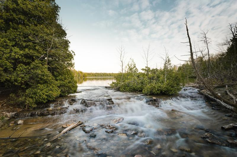 Cyprus Lake outflow at Bruce Peninsula National Park royalty free stock photography