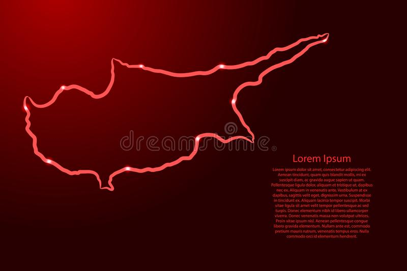 Cyprus map from the contour red brush lines different thickness and glowing stars on dark background Ilustración del vector ilustración del vector