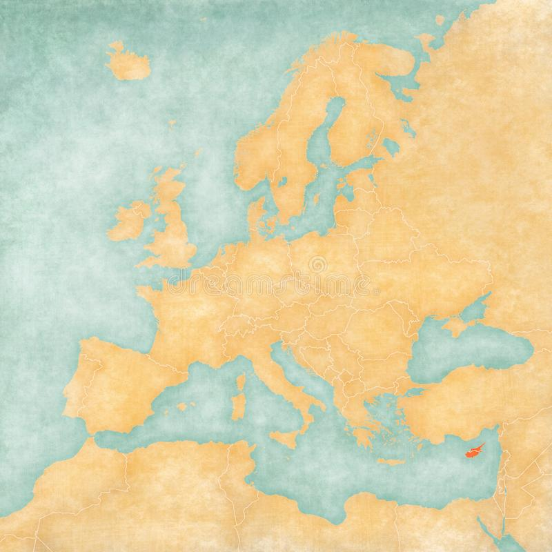 Map of Europe - Cyprus. Cyprus on the map of Europe in soft grunge and vintage style, like old paper with watercolor painting stock illustration