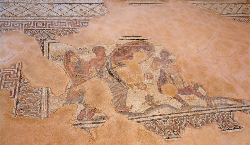 Cyprus mosaic in paphos city royalty free stock photo