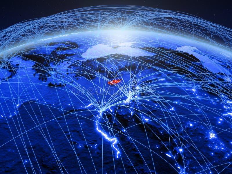 Cyprus op blauwe digitale aarde met internationaal netwerk die mededeling, reis en verbindingen vertegenwoordigen 3D Illustratie royalty-vrije stock foto