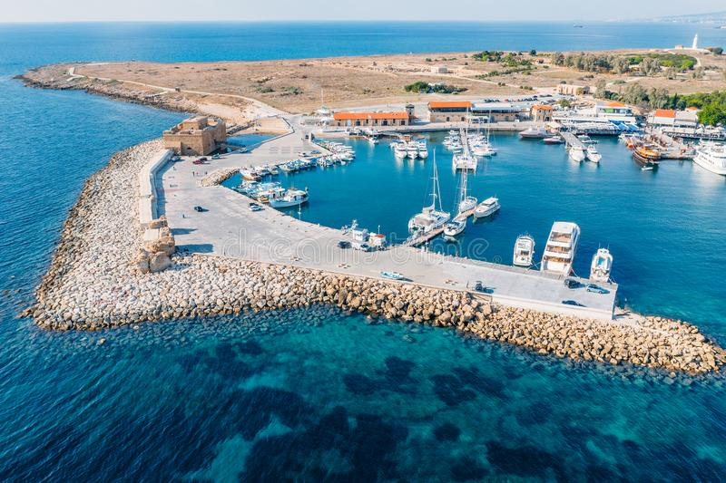 Cyprus. Paphos castle aerial view from drone. Medieval port castle in harbour on Mediterranean coast, now museum, famous stock photography