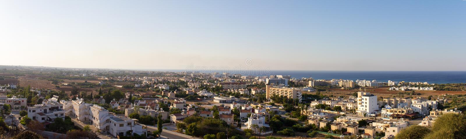 Cyprus. Protaras. Top view of the panorama of Protaras at sunset. The photo was taken in the city of Protaras in Cyprus. Panorama pieced together from multiple stock image