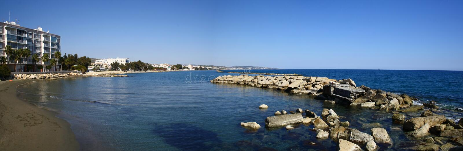 Panorama picture of Cyprus Seaside beach and port royalty free stock photos
