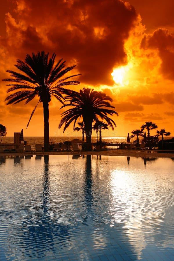 cyprus semesterortsolnedgång royaltyfri fotografi